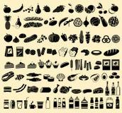 Schwarze Vektorikonen von Produkten Lizenzfreie Stockbilder