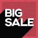Schwarze Verkaufsplakat-Fahnenschablone Freitags große mit Retro- Typografietext des langen Schattens und Tupfenhintergrund Stockfotografie