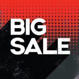 Schwarze Verkaufsplakat-Fahnenschablone Freitags große mit Retro- Typografietext des langen Schattens und Tupfenhintergrund Lizenzfreies Stockbild