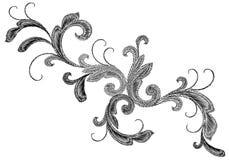 Schwarze viktorianische Stickerei-Blumenverzierung Barocker Gestaltungselementvektor der Stichbeschaffenheitsmodedruckfleckenblum Stockfotos