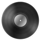 Schwarze Vinylaufzeichnungsdiskette mit dem leeren Aufkleber lokalisiert auf Weiß Stockbild