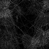 Schwarze Wand bedeckt mit Spinnennetzhintergrund Stockfotografie