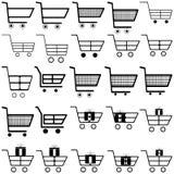 Schwarze Warenkörbe - gesetzte Ikonen stockfotos