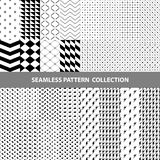 Schwarze weiße klassische Linie Zickzack-Vektor-Zusammenfassungs-geometrische nahtlose Muster-Design-Sammlung Lizenzfreie Stockfotos