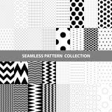 Schwarze weiße klassische Linie Zickzack-Vektor-Zusammenfassungs-geometrische nahtlose Muster-Design-Sammlung Lizenzfreie Stockfotografie