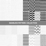 Schwarze weiße klassische Linie Zickzack-Vektor-Zusammenfassungs-geometrische nahtlose Muster-Design-Sammlung Lizenzfreie Stockbilder