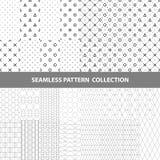 Schwarze weiße klassische Linie Zickzack-Vektor-Zusammenfassungs-geometrische nahtlose Muster-Design-Sammlung Lizenzfreies Stockfoto