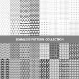 Schwarze weiße klassische Linie Zickzack-Vektor-Zusammenfassungs-geometrische nahtlose Muster-Design-Sammlung Lizenzfreies Stockbild
