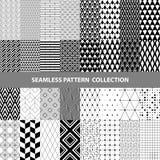 Schwarze weiße klassische Linie Zickzack-Vektor-Zusammenfassungs-geometrische nahtlose Muster-Design-Sammlung Stockfotos
