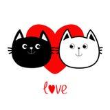 Schwarze weiße Kontur Katzenkopfpaar-Familienikone Rotes Herz Nette lustige Zeichentrickfilm-Figur Wortliebe Valentinsgrußtaggruß Lizenzfreie Stockfotografie