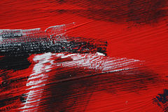 Schwarze, weiße, rote Acrylfarbe auf Metalloberfläche brushstroke Stockfotografie
