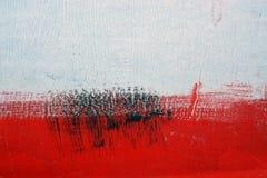 Schwarze, weiße, rote Acrylfarbe auf Metalloberfläche brushstroke Lizenzfreie Stockfotos