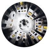 Schwarze weiße runde Illustration des Mondhauses des nächtlichen Himmels stock abbildung