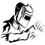 Schwarze weiße Zeichnung Schweißer-Welding Tool Mans Stockbilder