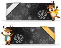 Schwarze Weihnachtsfahnen mit Ren Stockbilder