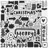 Schwarze Weihnachtsgekritzel Lizenzfreie Stockfotografie