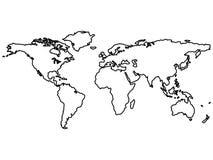 Schwarze Weltkartenumreißen getrennt auf Weiß Stockfotografie