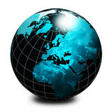 Schwarze Weltkugel lizenzfreie abbildung
