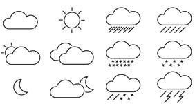 Schwarze Wetter-Ikonen mit weißem Hintergrund Lizenzfreie Stockbilder