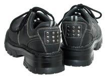 Schwarze Winter-Schuhe der Frauen (rückseitig) lizenzfreies stockfoto
