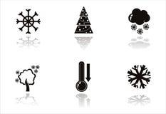 schwarze Winterikonen lizenzfreie abbildung