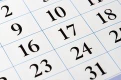 Schwarze Zahlen des Kalenders Stockfoto