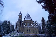 Schwarzenberg tomb, side view, tree and stairway - winter time royalty free stock photography
