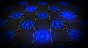 Schwarzer abstrakter Hintergrund mit hintergrundbeleuchtetem Neon der Hexagone lizenzfreie abbildung