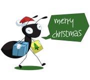 Schwarzer Ant Cartoon Christmas Illustration Lizenzfreie Stockfotos