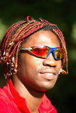 Schwarzer Athletenradfahrer Stockfoto