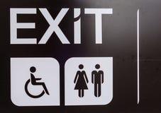 Schwarzer Ausgang, Handikap, Toilettenzeichen, behindertes Zeichen lizenzfreies stockfoto