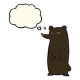 schwarzer Bär der lustigen Karikatur mit Gedankenblase Stockbilder