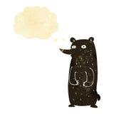 schwarzer Bär der lustigen Karikatur mit Gedankenblase Lizenzfreies Stockfoto