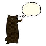 schwarzer Bär der lustigen Karikatur mit Gedankenblase Stockfotografie