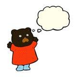 schwarzer Bär der lustigen Karikatur mit Gedankenblase Stockfotos