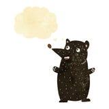 schwarzer Bär der lustigen Karikatur mit Gedankenblase Lizenzfreies Stockbild