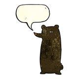 schwarzer Bär der lustigen Karikatur mit Spracheblase Lizenzfreie Stockfotografie