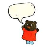 schwarzer Bär der lustigen Karikatur mit Spracheblase Lizenzfreies Stockbild