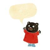 schwarzer Bär der lustigen Karikatur mit Spracheblase Lizenzfreie Stockbilder