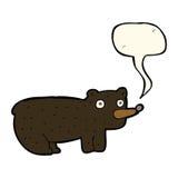 schwarzer Bär der lustigen Karikatur mit Spracheblase Stockfoto