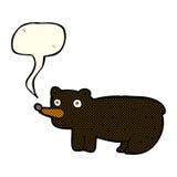 schwarzer Bär der lustigen Karikatur mit Spracheblase Lizenzfreie Stockfotos