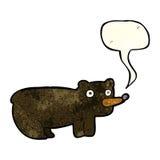 schwarzer Bär der lustigen Karikatur mit Spracheblase Stockfotografie