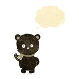 schwarzer Bär der netten Karikatur, der mit Gedankenblase wellenartig bewegt Lizenzfreie Stockfotografie