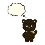 schwarzer Bär der netten Karikatur, der mit Gedankenblase wellenartig bewegt Stockfoto