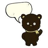 schwarzer Bär der netten Karikatur, der mit Spracheblase wellenartig bewegt Stockfoto