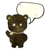 schwarzer Bär der netten Karikatur, der mit Spracheblase wellenartig bewegt Lizenzfreies Stockbild