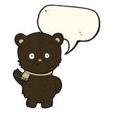 schwarzer Bär der netten Karikatur, der mit Spracheblase wellenartig bewegt Stockbild