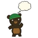 schwarzer Bär der netten Karikatur mit Gedankenblase Stockbild