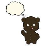 schwarzer Bär der netten Karikatur mit Gedankenblase Stockbilder
