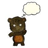 schwarzer Bär der netten Karikatur mit Gedankenblase Lizenzfreie Stockfotografie